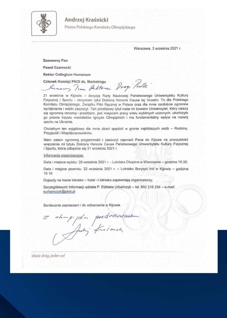 Zaproszenie nawydarzenie wręczenia przezUniwersytet Kultury Fizycznej iSportu wKijowie tytułu Doctor Honoris Causa prof.Andrzejowi Kraśnickiemu