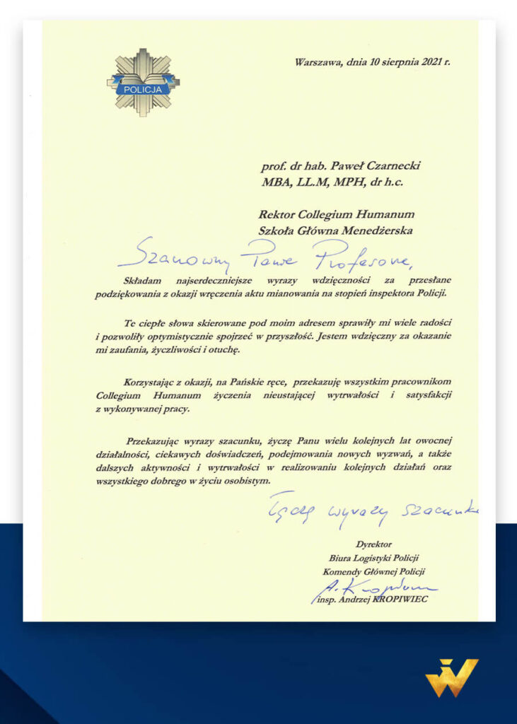 Podziękowanie od Dyrektora Biura Logistyki Komendy Głównej Policji - insp. Andrzeja Kropiwca