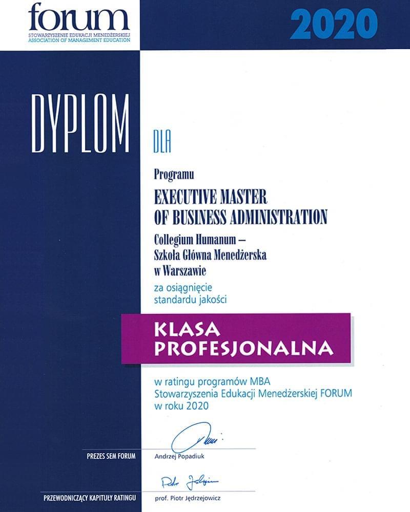 Klasa Profesjonalna wrankingu studiów MBA 2020 wPolsce